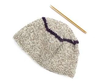Hand Knit Beanie Hat White Grey Natural Wool