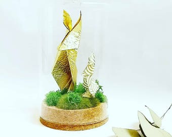 Rabbit Origami sculpture / Bell glass / gold paper / taxidermy / curiosity Cabinet / gift for him / Deco rabbit