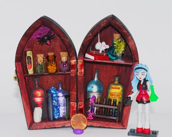 Miniature mad scientist laboratory Monster High potion bottles chemistry experiment