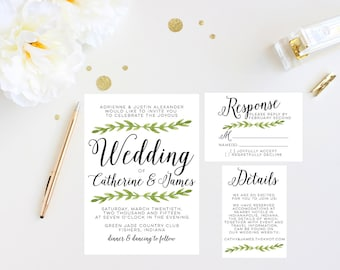 Green Leaf and Script Wedding Invitation - Invitation, Response, and Details Cards - Printable, Customized Green and Black