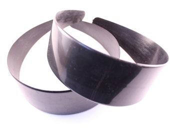12 pieces - 50mm Black Plastic Headbands