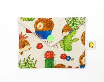 """Hedgehog and cactus coin pouch, stitch marker pouch, 9"""" circular needle storage"""