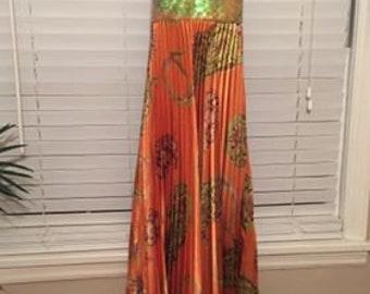 Exotic long orange and green halter dress