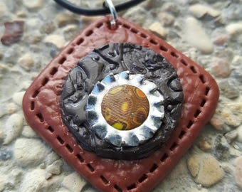 Brown and black diamond in polymer clay steampunk necklace.