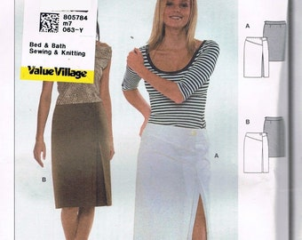 Size 8-20 Misses' Skirt Sewing Pattern -  Front Slit Skirt Sewing Pattern - Knee Length Skirt - Sewing For Women - Burda 8491