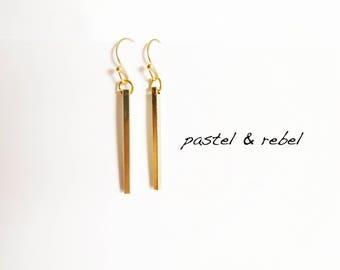 Minimalist golden bars earrings