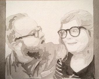 5x7 Custom Watercolor Portrait