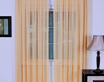 """4-Piece Cantaloupe Sheer Voile Window Curtain Panels 55""""W X 84""""L Each Panel"""