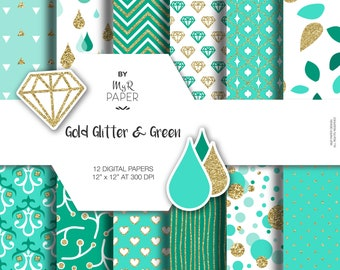 """Gold glitter green digital paper: """"GOLD & GREEN"""" green and gold glitter pack of backgrounds with chevron, polka dots, stripes, hearts"""