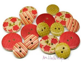 Set of 16 buttons decorated wood collection Christmas Traditional Christmas embellishment scrapbooking (ref.110) *.