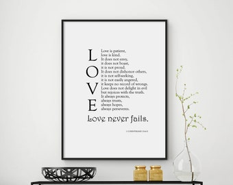 Love Never Fails, bible quote, bible verse print, bible verse wall art, bible verse art, christian print, bible print, DIGITAL FILES