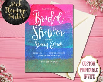 BRIDAL SHOWER INVITATION Watercolor Bridal Shower Invite Pink Blue Mint Modern Print or Printable Bridal Shower Invitation