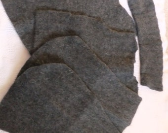 Felted Lambswool Angora Blend Sweater Remnants Charcoal Gray Cable Recycled Wool