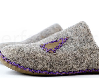 """PerfectFelt slippers """"Lodge"""" womens moccasin slippers - house shoes - leather soles slippers"""