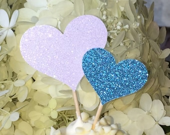 120 Heart Cupcake Toppers Sparkling TEAL HEARTS Wedding Cake Decorations