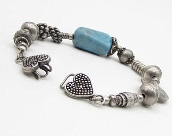 925 sterling silver - vintage pebbled turquoise beaded bracelet - b1203