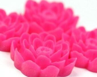 Flower Cabochon Plastic 24mm Hot Pink (2) PC149