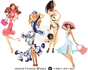Modern Fashion Women Clipart,fashion girls clipart,shopping girl,digital download