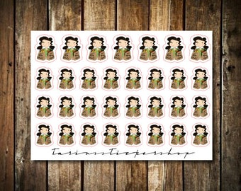 Groceries - Cute Brunette Girl - Functional Character Stickers