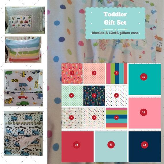 Toddler Blanket Set - Custom Bedding, Pillow Case / Sham, Kids Cotton & Minky Blanket  Seaside Fun - Mermaids, Starfish, Jellyfish, Stripes