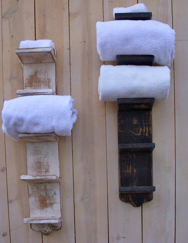 7 Creative Ideas For Bathroom Towel Storage: Bath Towel Holder Bathroom Decor Wood Shabby Decor