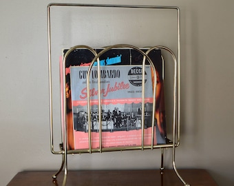 Tall Vintage Gold Colored Brassy Record Holder | Magazine Holder | Curvy Record Holder | Metal Decor | Unique Home Decor Storage