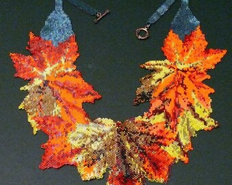Peyote Stitch Pattern for Autumn Leaves necklace