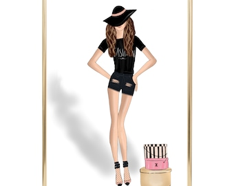 Fashion, girl fashion illustration chanel home decor instant download