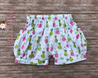 Girls bubble shorts, toddler bubble pocket shorts, toddler shorties, pineapple shorts