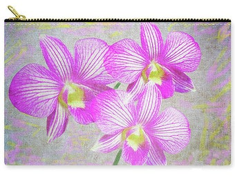 Pink Orchid Art, Flower Handbag, Cosmetic Bag, Make Up Bag, Carry All Pouch, Toiletry Bag, Zippered Clutch, Travel Purse, Gift for Her