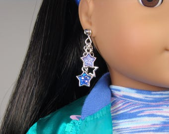 """Cascade of Stars Earring Dangles for 18"""" Play Dolls such as American Girl® Luciana"""