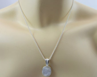 White druzy Agate pendant with chain