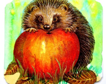 Postcard fall theme handmade Hedgehog and his Apple.