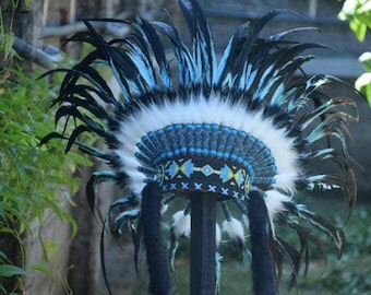 American Style Monte Turquish Indian Headdress Cool Headband Warbonnet Turquish Hat Feather Costume Native American Boho Headpiece