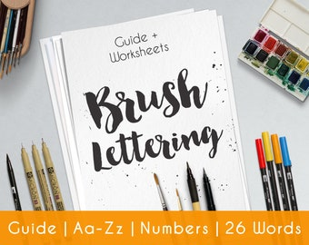Brush Hand Lettering Worksheets | 33 practice Sheets | Guide for Beginner | Brush Lettering Workbook | Printable | Learn Calligraphy | B10
