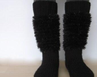 EXPRESS CARGO Black Knit Slippers, Women Slippers, House Shoes, Slippers Socks, Gift For Winter, Gift For Her, Gift ideas /// FORMALHOUSE