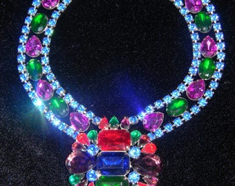 Vintage Massive Runway Kenneth Jay Lane for Juliana Couture Multi Faceted Rhinestone Necklace
