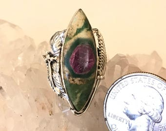 Ruby in Fuchsite Party Ring Size 8 1/2
