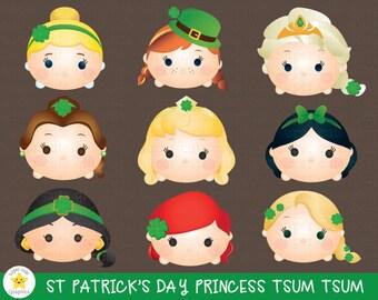 st patrick's day clipart, tsum tsum clipart, princess tsum tsum clipart, princess st patrick's day clipart, party, printable, st patricks