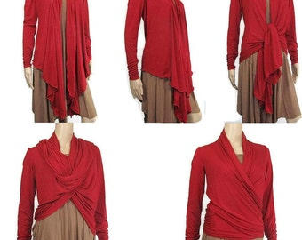Womens Cardigan/Yoga Wrap-Hand Dyed Bamboo/Organic Cotton Jersey-The Kobieta Waterfall Cardigan- Made to Order Size and Color-XXS thru Large