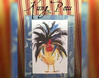 Mini Art, KUNG POW, ready to ship, Rooster Art, Art Block, Ornament,  Art Print