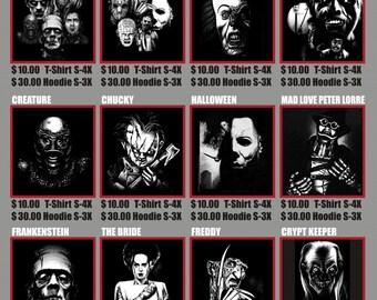 classic horrors t-shirts
