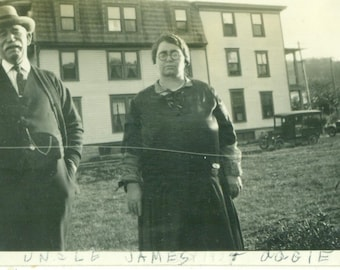1927 Uncle James and Aggie Old Portly Husband Wife Cars Building 20s Antique Vintage Photograph Black White Photo