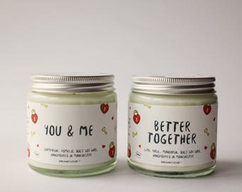 You and Me, Better Together Soy Candle | Gift for Fiance, Gift for Boyfriend, Gift for Groom, Gift for Him, Personalised Gift