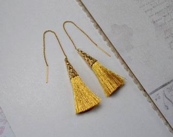 Gold Tassel Earrings, Gold Fill Earrings, Tassel Jewelry, Gold Threader Earrings, Long Tassel Earrings, Golden Dangle Earrings, Wife Gift