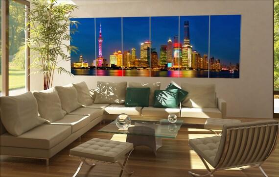Shanghai skyline panorama Shanghai skyline panorama at dusk China 6 panels / boards  Large panorama panoramic canvas wall art art