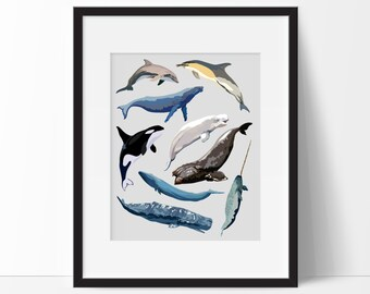 Whale Art - Watercolor Whale Wall Art - Whales Nursery Art - Whale Nursery Decor - Watercolor Whales - PRINTABLE 24x35 Poster Size