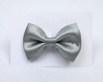 Platinum Satin Hair Bow