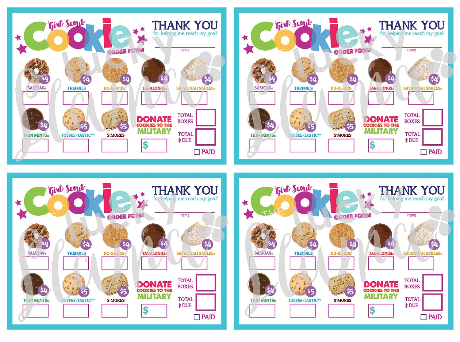 This is a photo of Eloquent Girl Scout Cookie Order Form Printable