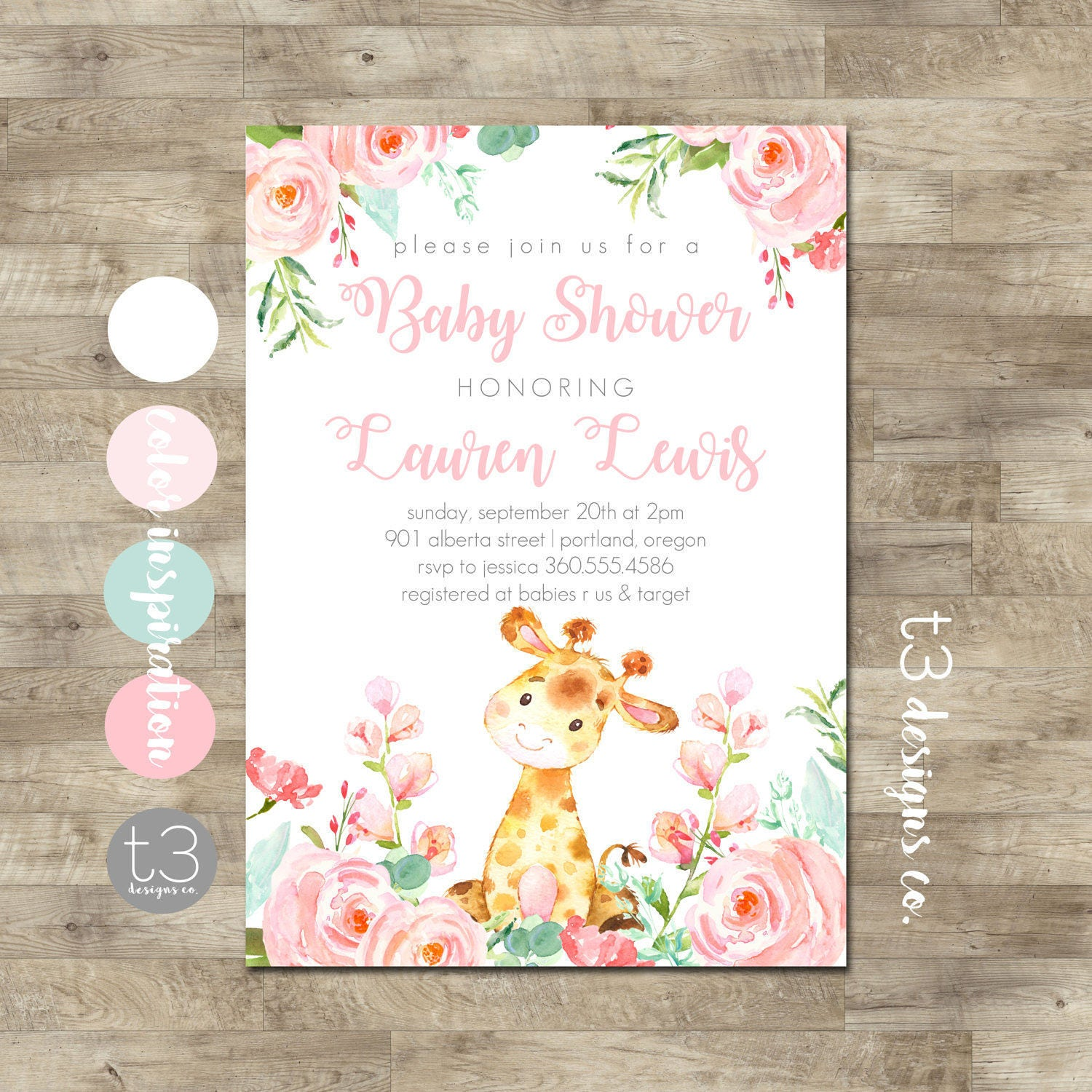 Girl Giraffe Baby Shower Invitation Safari baby shower invitation